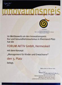 Urkunde des Innovationspreises